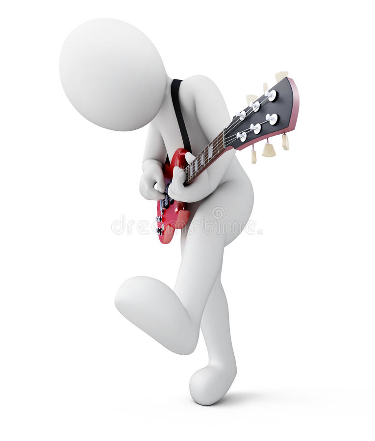 Gitarrist man 3d med en gitarr royaltyfri illustrationer