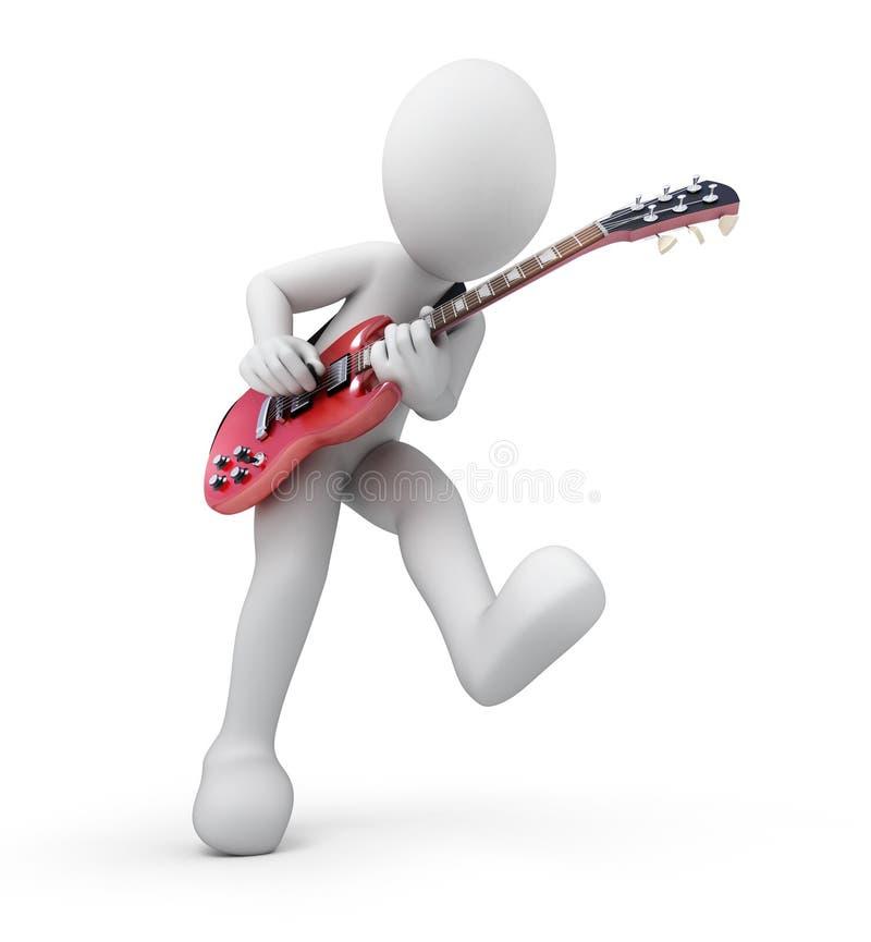 Gitarrist man 3d med en gitarr stock illustrationer