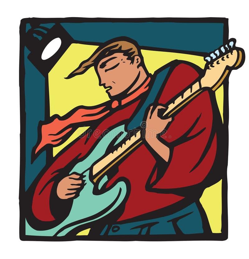 Gitarrist med halsduken vektor illustrationer