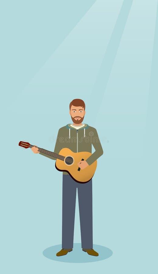 Gitarrist med musikinstrumentet som bara står Musikerman med gitarren royaltyfri illustrationer