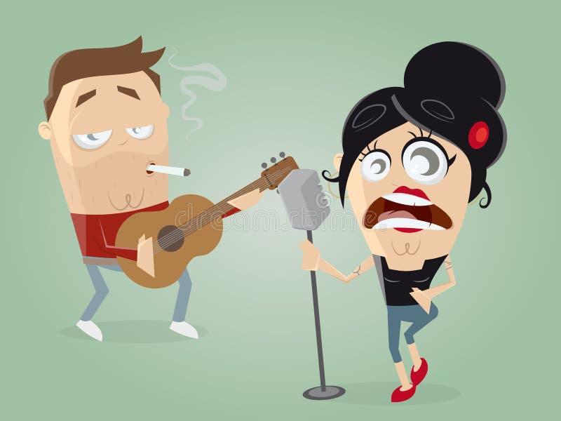 Gitarrist och kvinnlig sångare royaltyfri illustrationer