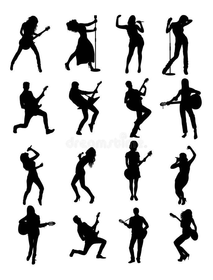 Gitarrist och sångare Silhouettes stock illustrationer