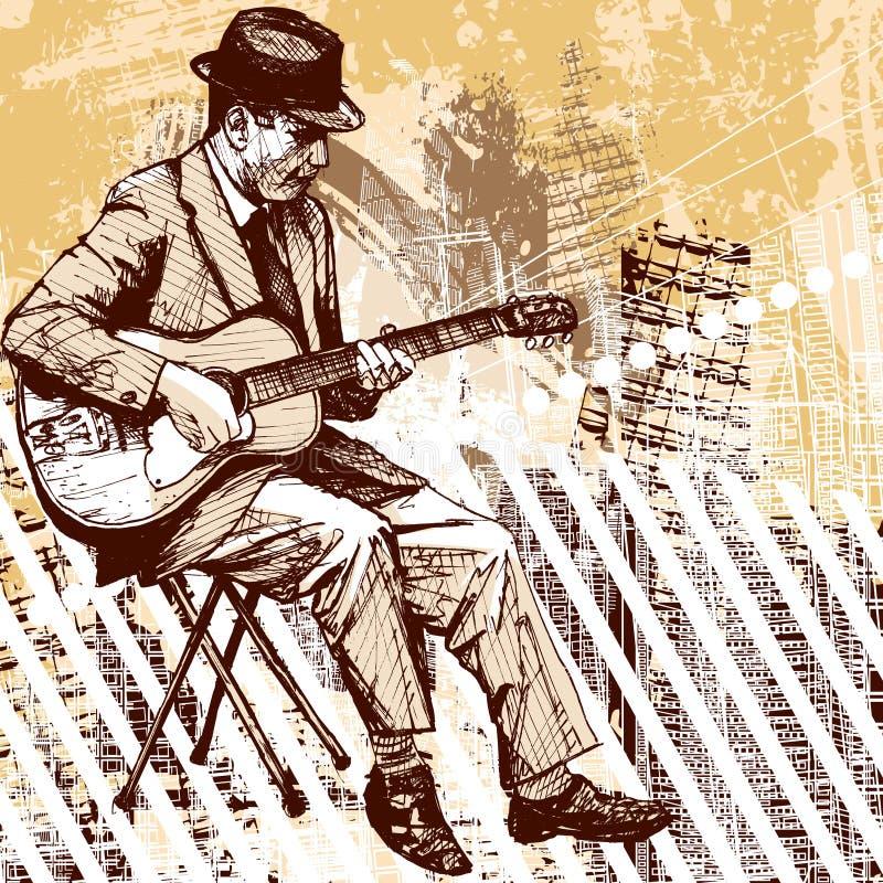 Gitarrist på grungebakgrund royaltyfri illustrationer