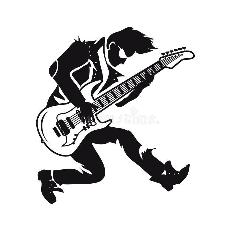 Gitarrist Playing Songs på vektorillustration stock illustrationer