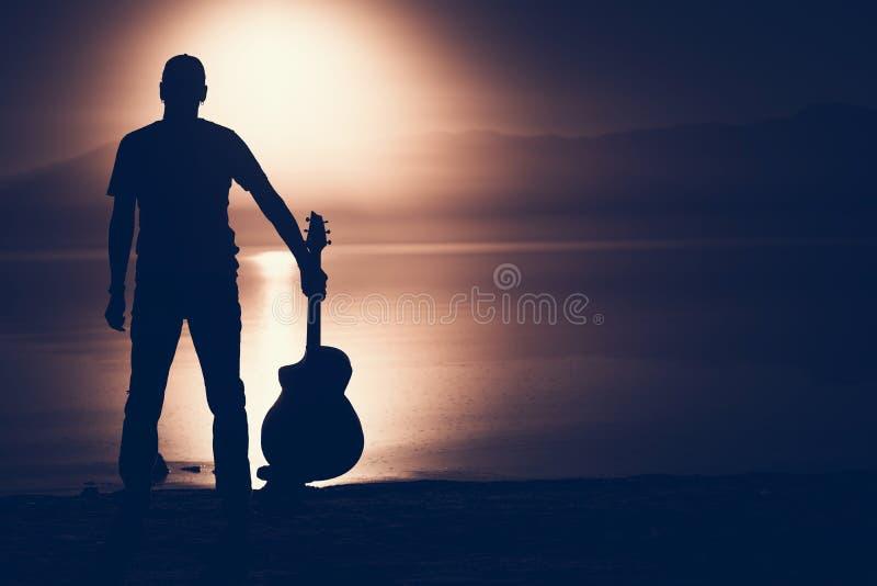 Gitarrist Silhouette Concept stockbilder