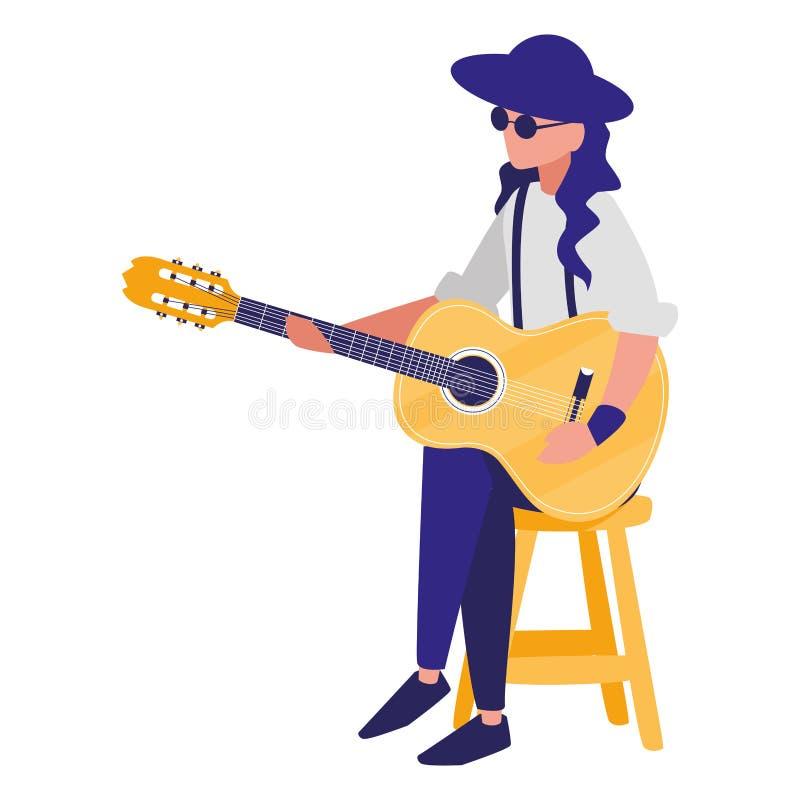 Gitarrist som spelar gitarrteckenet stock illustrationer