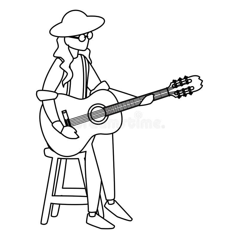 Gitarrist som spelar gitarrteckenet royaltyfri illustrationer