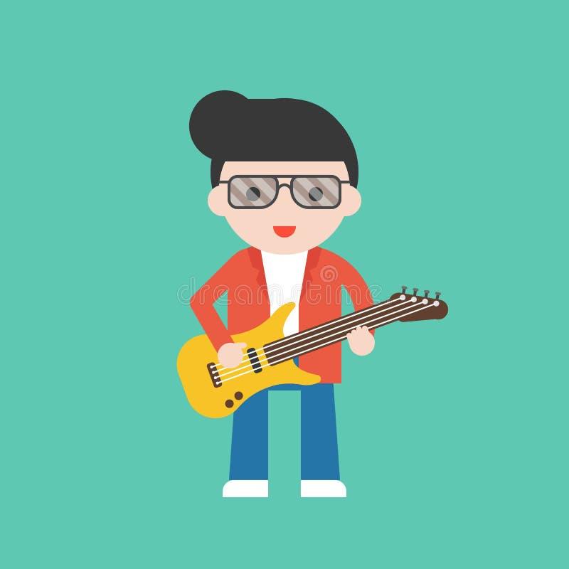 Gitarrist yrkesmässig uppsättning för gulligt tecken, plan design vektor illustrationer