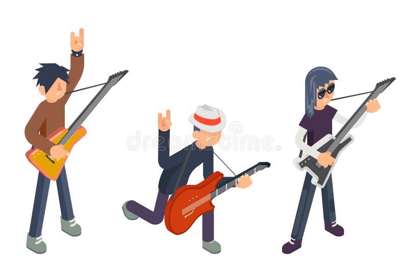 Gitarristen för symbolen 3d för den populära moderna aktören för gitarrspelaren vaggar den isometriska hårt den plana designvekto royaltyfri illustrationer