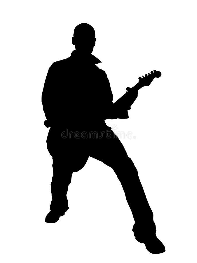 gitarristsilhouette royaltyfri illustrationer