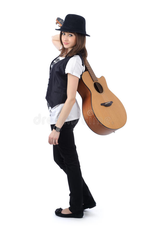 gitarrkvinna royaltyfri foto