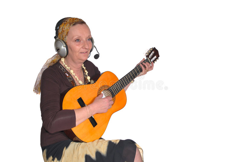 gitarrkvinna arkivbilder