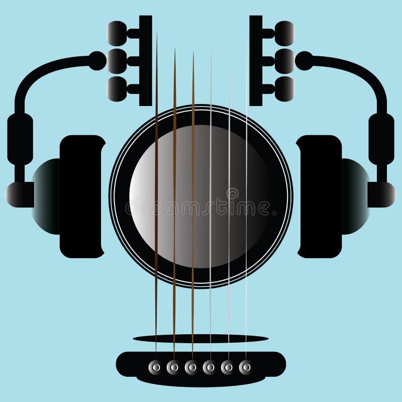 Gitarrmusiksymbol vektor illustrationer
