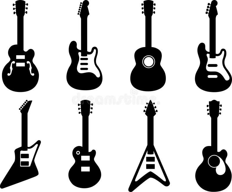 gitarrsilhouettes royaltyfri illustrationer