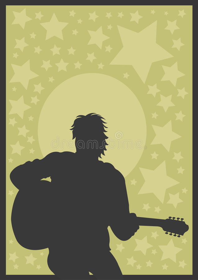 gitarrspelare stock illustrationer