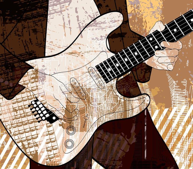 Gitarrspelare på grungebakgrund royaltyfri illustrationer