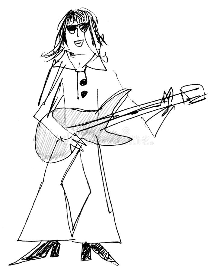 gitarrspelaresixties vektor illustrationer