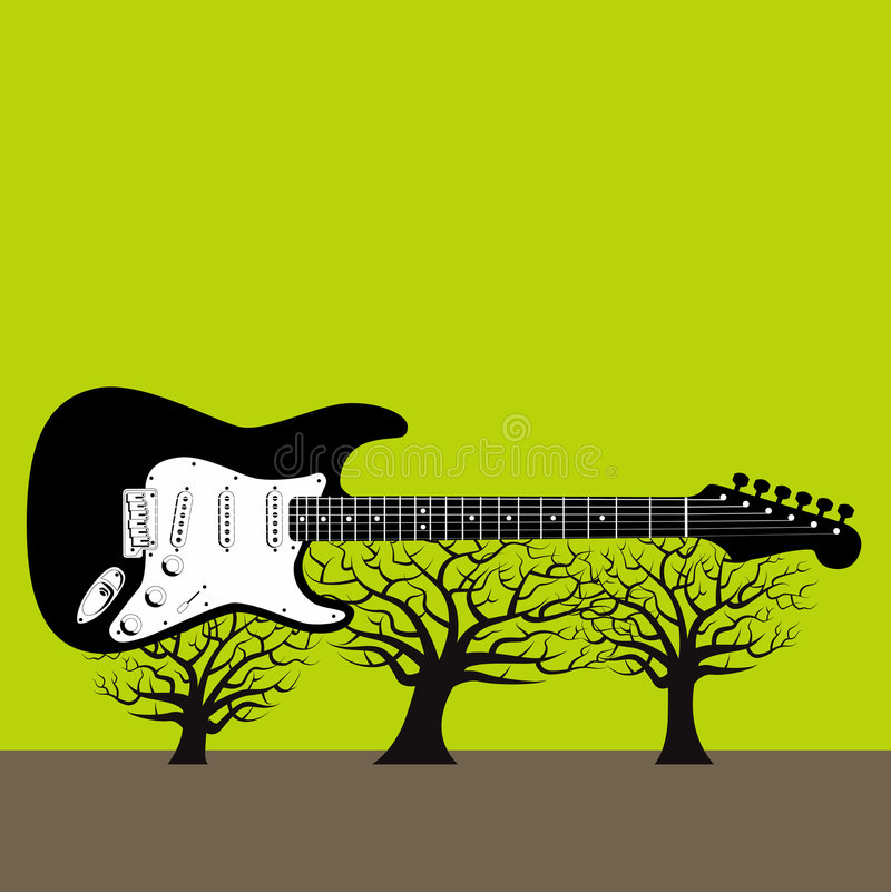 gitarrtrees stock illustrationer