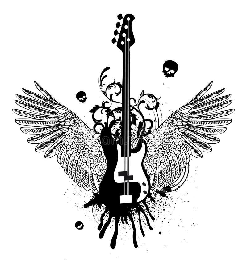 gitarrvingar royaltyfri illustrationer