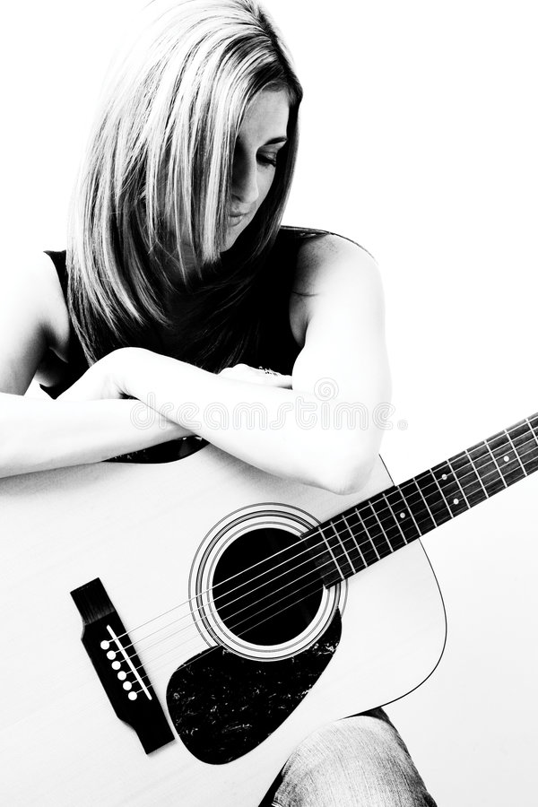 gitary accoustic kobieta obrazy royalty free