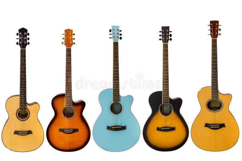 Gitary akustyczne odizolowywać na białym tle zdjęcie stock