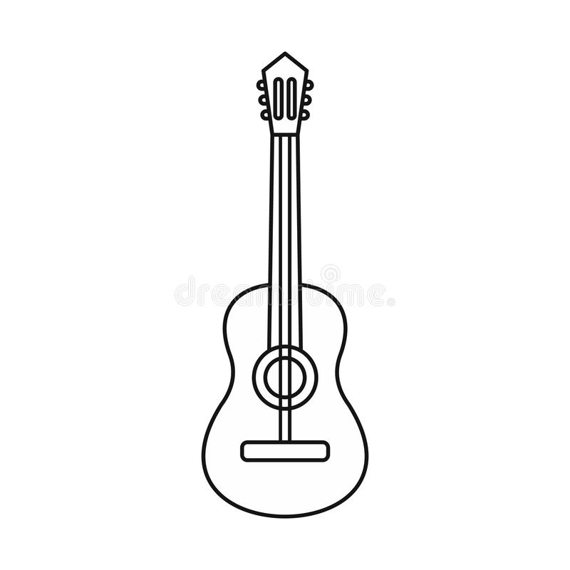 Gitary akustycznej ikona, konturu styl royalty ilustracja