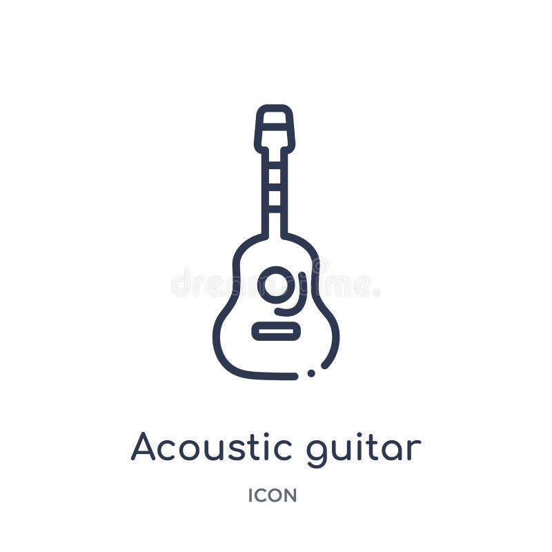 Gitary akustycznej ikona od muzycznej kontur kolekcji Cienieje kreskową gitary akustycznej ikonę odizolowywającą na białym tle ilustracji