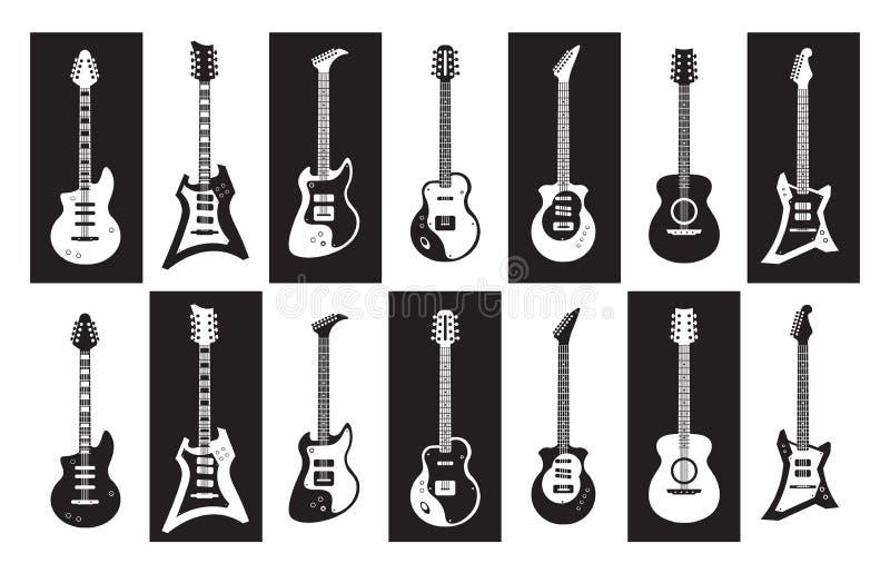 gitary Czarny i biały elektryczne i akustyczne rockowe gitary różni typy Wektorowy minimalista odizolowywający set royalty ilustracja