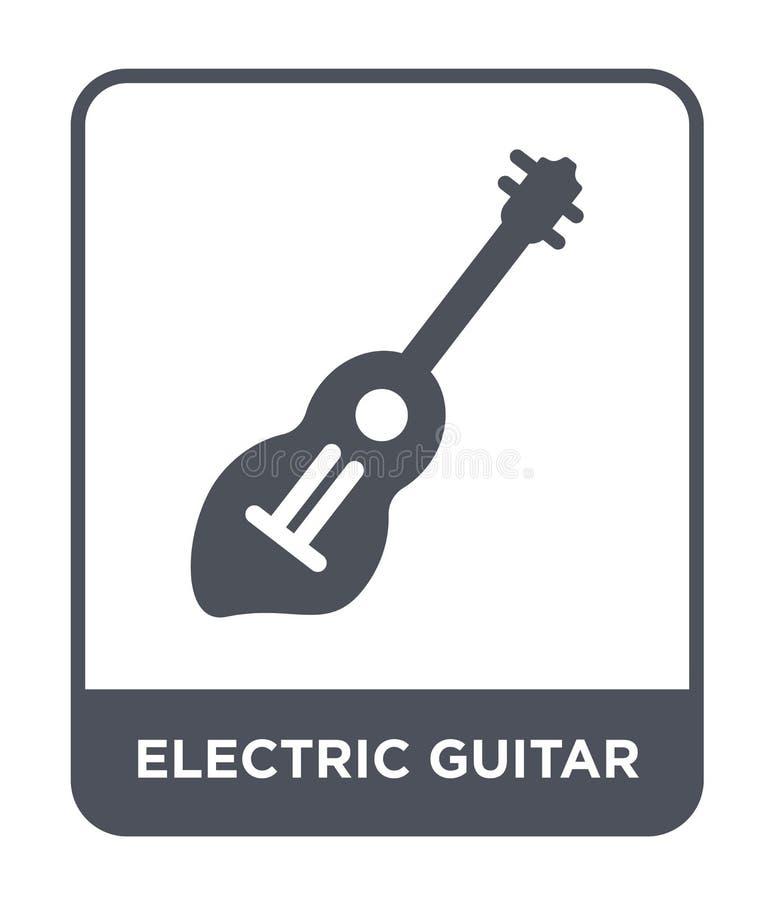 gitary elektrycznej ikona w modnym projekta stylu Gitary elektrycznej ikona odizolowywająca na białym tle gitary elektrycznej wek royalty ilustracja