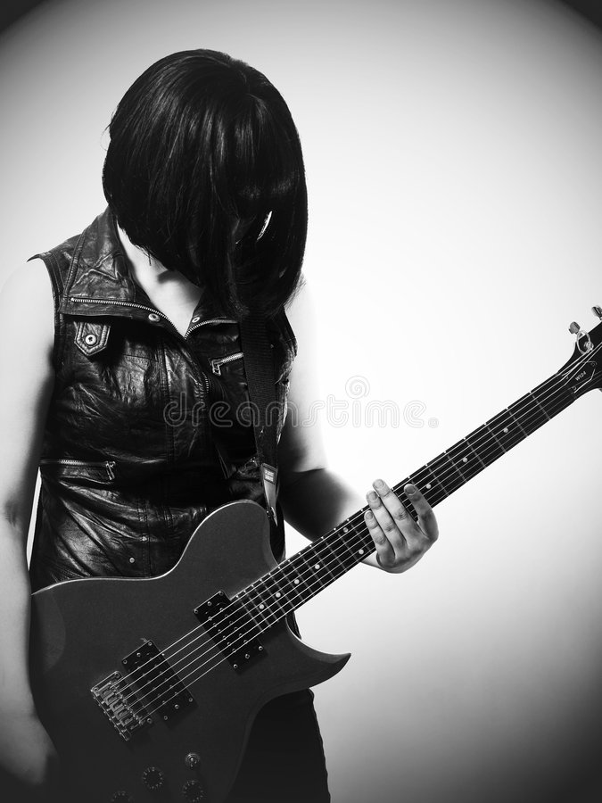 gitary elektrycznej kobieta zdjęcia royalty free