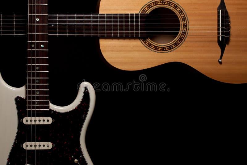 gitary Elektryczny i gitara akustyczna szeroki kąta granicy wizerunek zdjęcie royalty free