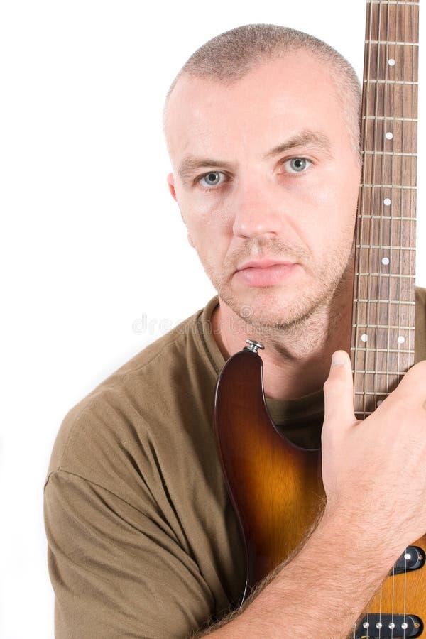 gitary gracza portret obrazy stock