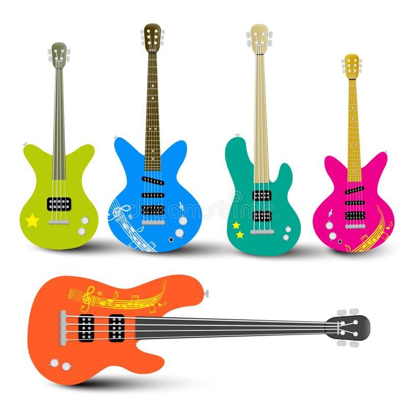 Gitary i Basowe gitary Ustawiający royalty ilustracja