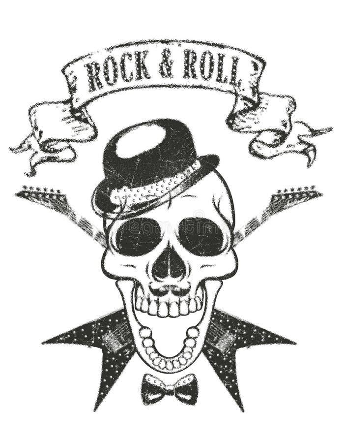 gitary i czaszki koszulki druk, «rock and roll «typografia royalty ilustracja