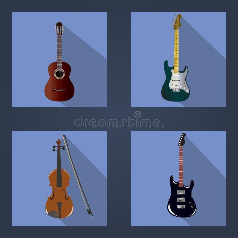 Gitary i skrzypce royalty ilustracja