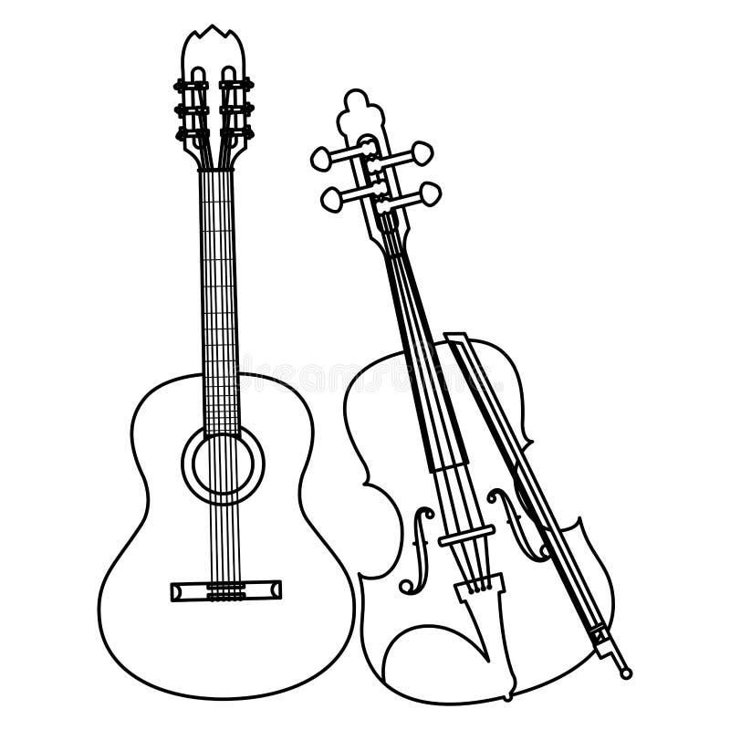 Gitary i skrzypki instrumenty ilustracja wektor