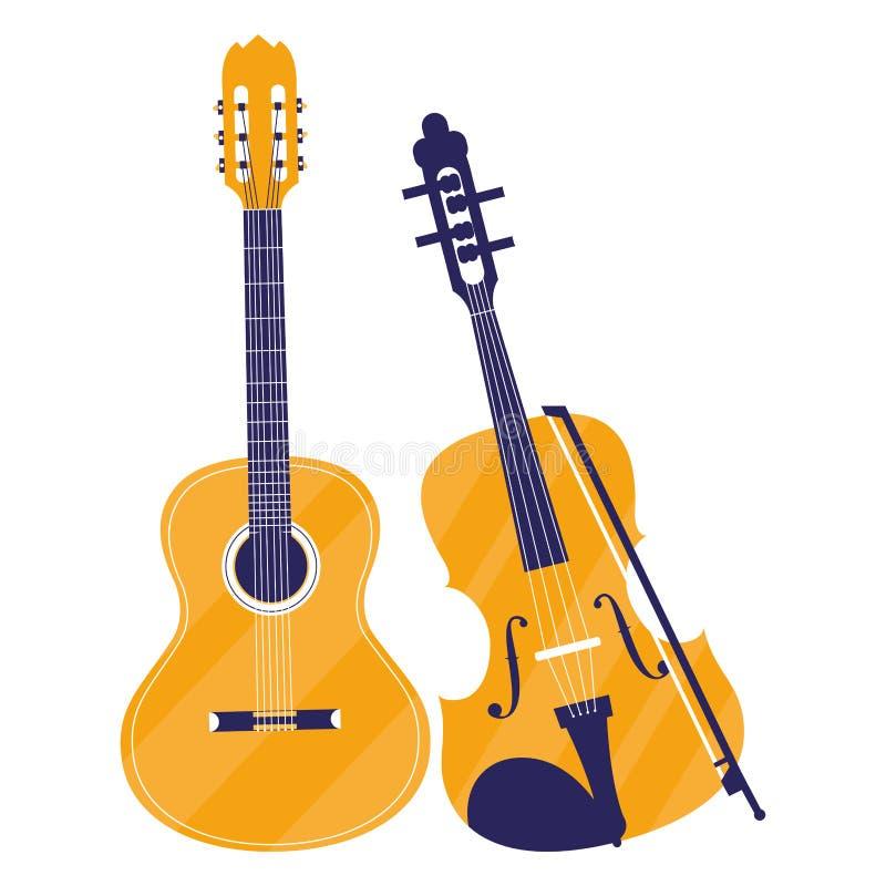 Gitary i skrzypki instrumenty ilustracji