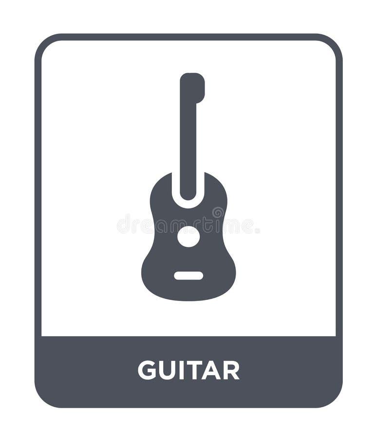 gitary ikona w modnym projekta stylu Gitary ikona odizolowywająca na białym tle gitary wektorowej ikony prosty i nowożytny płaski royalty ilustracja