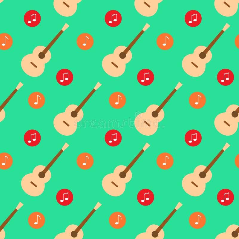 Gitary muzyki notatki projekta wzoru płaski wektor royalty ilustracja