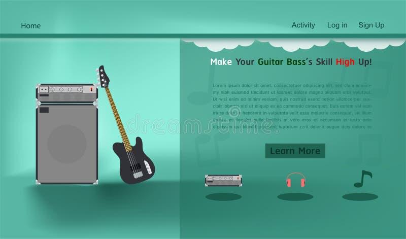 Gitary strony internetowej basowego muzycznego pracownianego szablonu wektorowa ilustracja eps10 ilustracja wektor