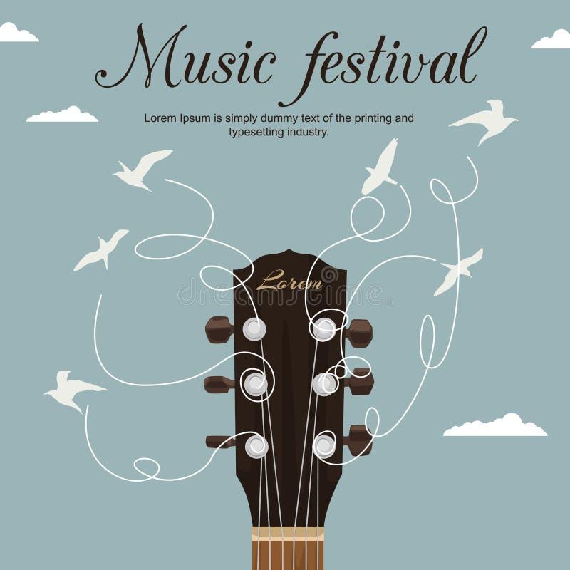 Gitary szyja z sznurka zwrotem w białych ptaki w niebieskim niebie Festiwal muzyki ulotka ilustracja wektor