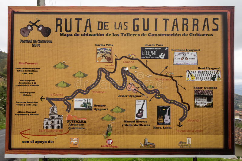 Gitary trasa podpisuje wewnątrz Ekwador obrazy royalty free