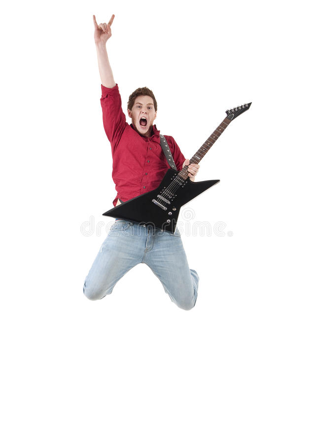 gitarzystów skoki obraz royalty free