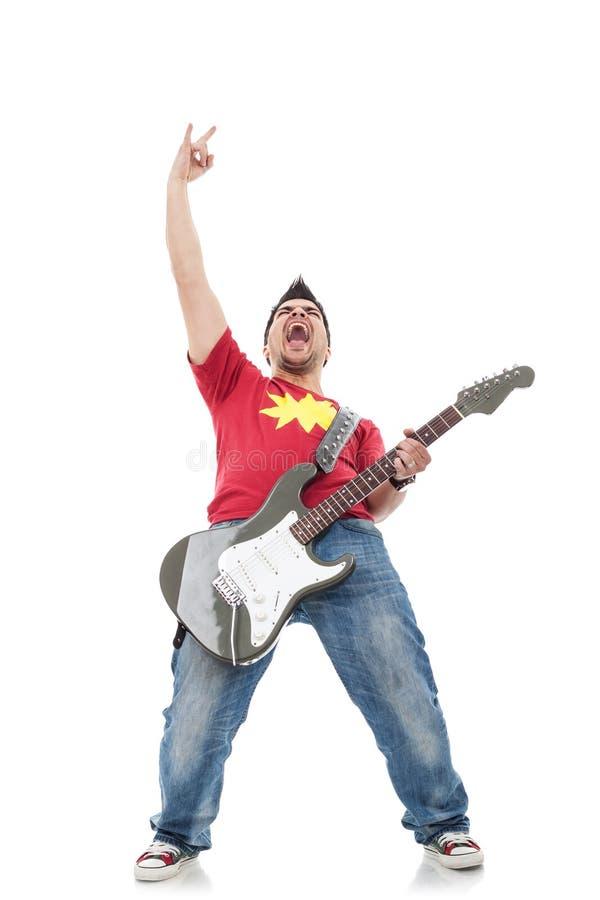 Gitarzysta opiera z powrotem i krzyczy zdjęcie royalty free