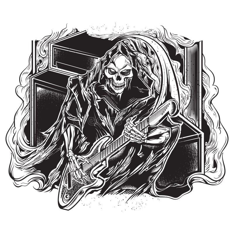 Gitarzysta ponura żniwiarka royalty ilustracja