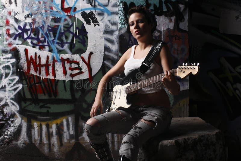 gitarzysta seksowny zdjęcia stock