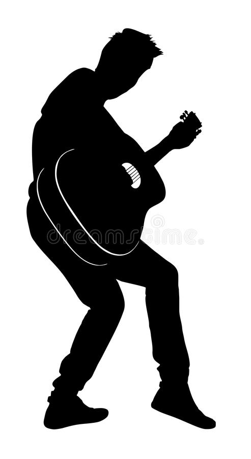 Gitarzysta sylwetki wektor ilustracji