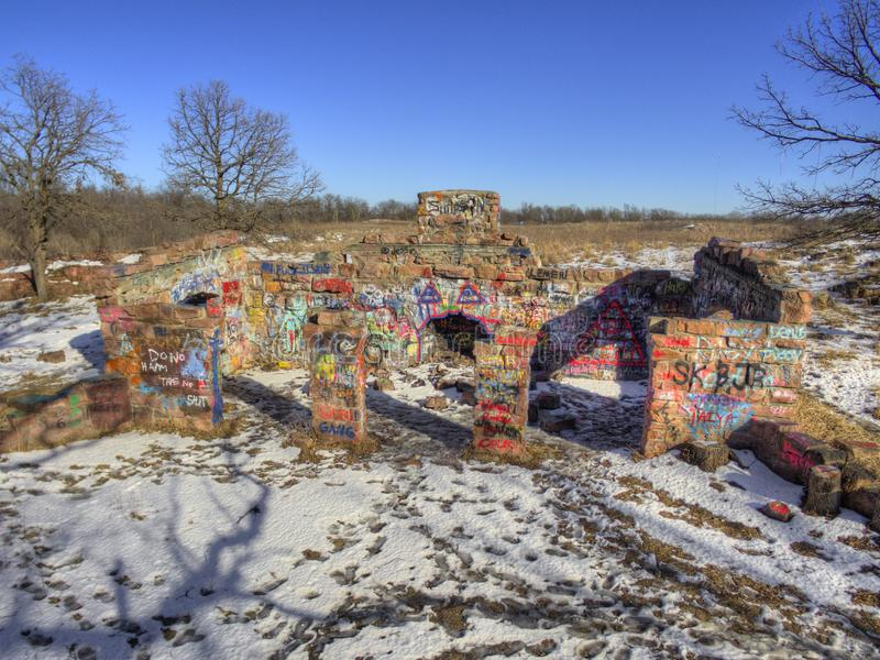 Gitchee Manitou природный заповедник на границе Айовы/Южной Дакоты гнусной для убийств детей стоковые изображения