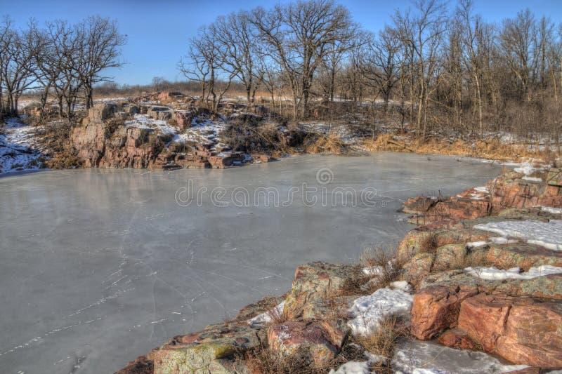Gitchee Manitou est une préservation de la nature à la frontière de l'Iowa/Dakota du Sud infâme pour des meurtres des enfants image libre de droits