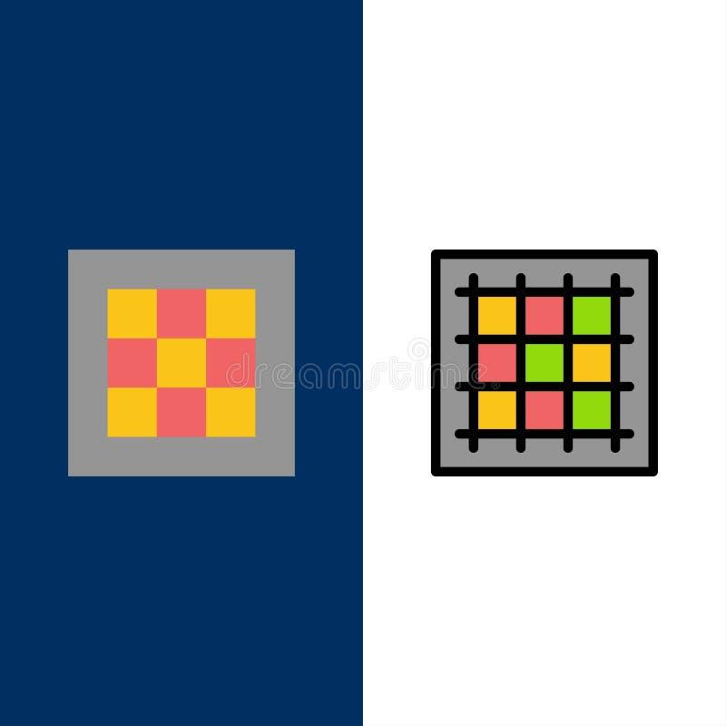 Gitter, Diagramm, Zeichnung, Bereich, Software Ikonen Ebene und Linie gefüllte Ikone stellten Vektor-blauen Hintergrund ein stock abbildung